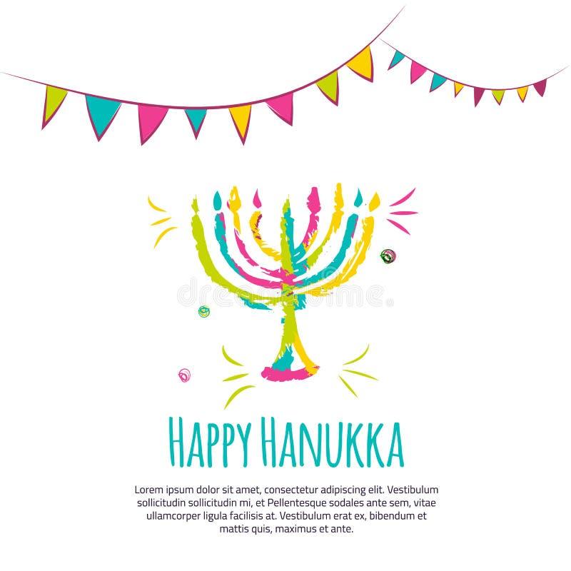 Carte de voeux colorée heureuse de Hanoucca avec les éléments tirés par la main sur le fond blanc illustration de vecteur