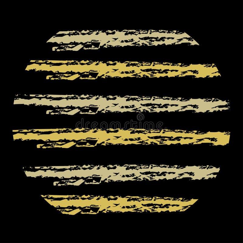Carte de voeux créative avec les brosses d'or décoratives sur un fond noir Pour des ornements, cartes, affaires illustration libre de droits