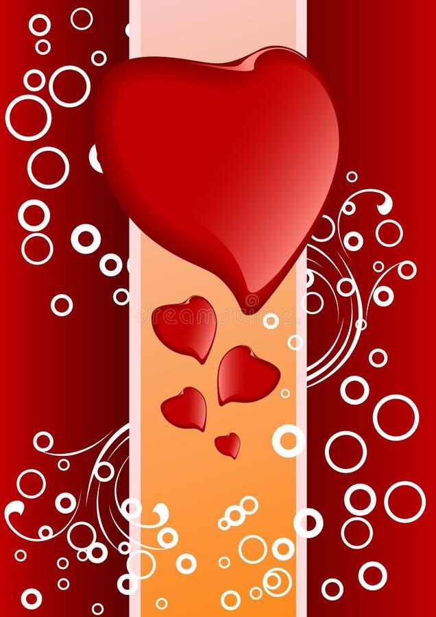 Carte de voeux créatrice de Valentine avec des coeurs et des cercles, vecteur illustration de vecteur