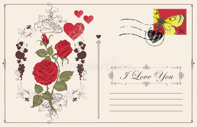 Carte de voeux de cru avec l'inscription je t'aime illustration de vecteur