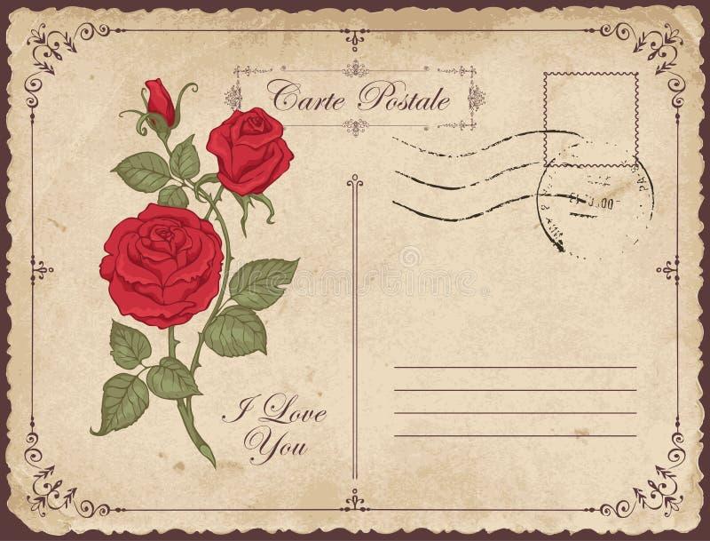 Carte de voeux de cru avec l'inscription je t'aime illustration stock