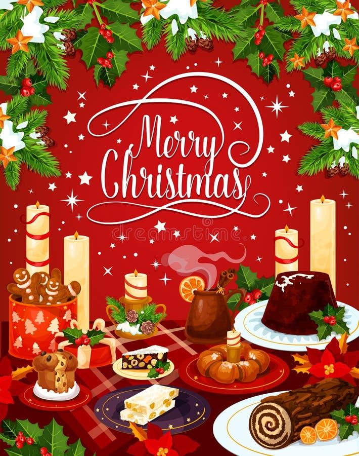Carte de voeux de dîner de la veille de vecteur de Joyeux Noël illustration libre de droits