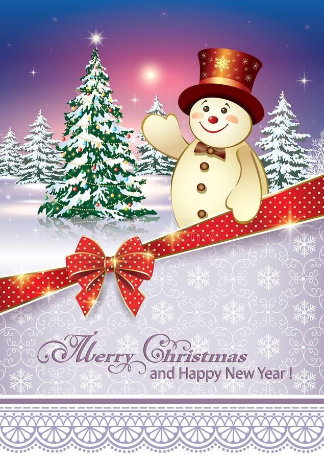 Carte de voeuxd'Â avec un arbre et un bonhomme de neige de Noël illustration stock