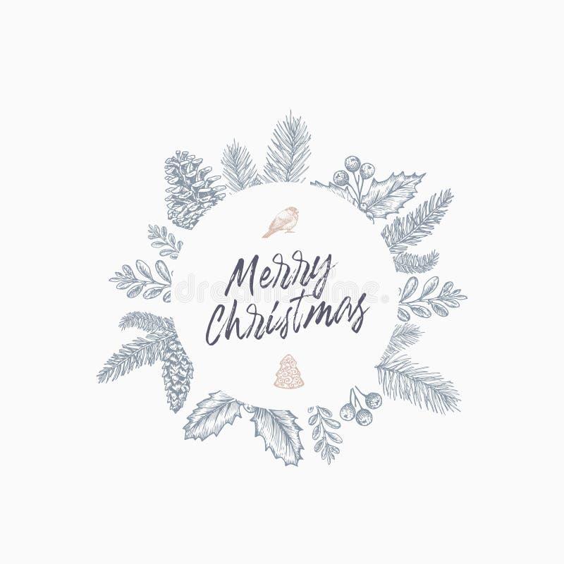 Carte de voeux d'abrégé sur Joyeux Noël avec le cadre et le lettrage ronds de bannière Disposition de dessin de croquis de couleu illustration libre de droits