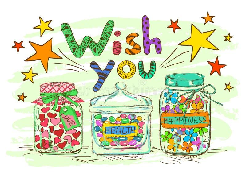 Carte de voeux d'anniversaire avec des pots et des souhaits illustration stock