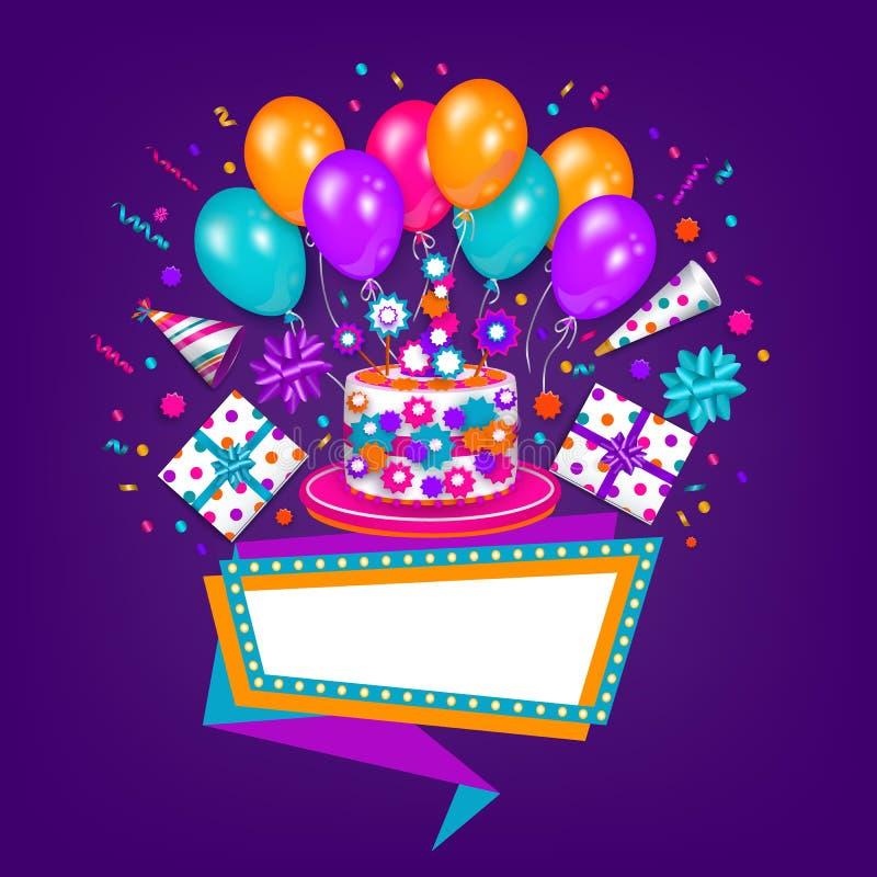 Carte de voeux d'anniversaire, bannière avec l'espace pour le texte illustration stock