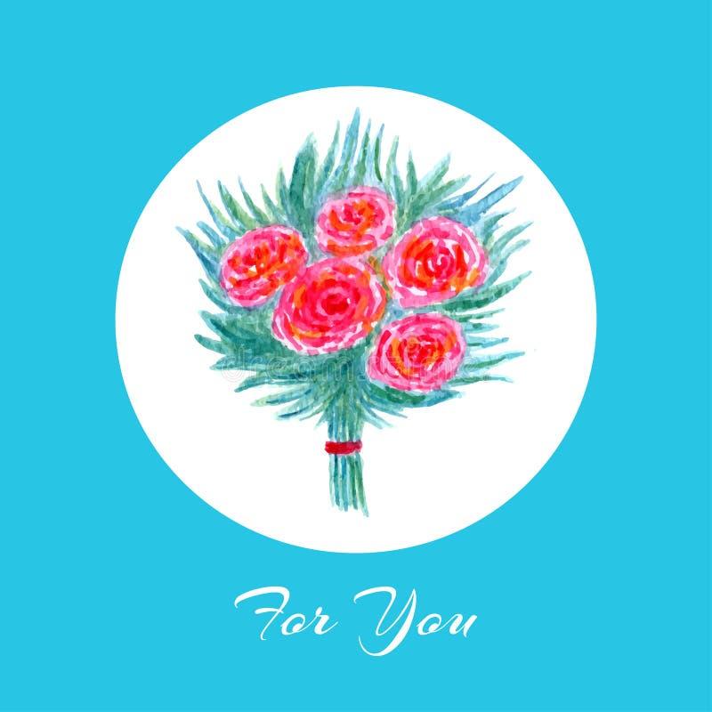 Carte de voeux d'aquarelle avec le bouquet de floraison de fleurs Belle mariage, invitation d'anniversaire ou carte postale illustration de vecteur