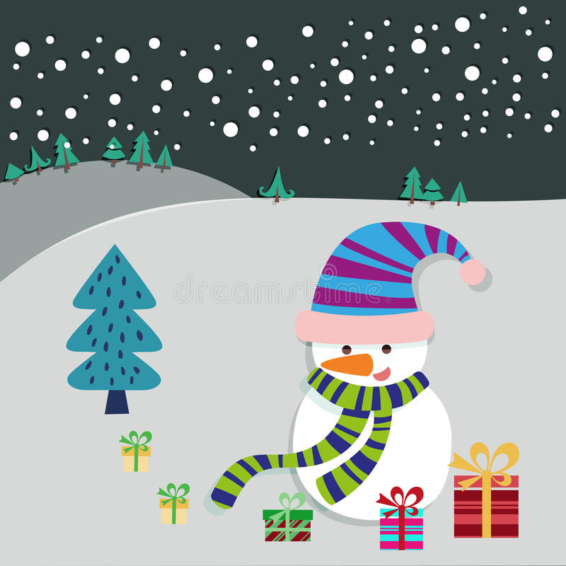 Carte de voeux d'arbre de bonhomme de neige et de Noël illustration de vecteur