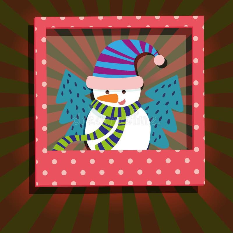 Carte de voeux d'arbre de bonhomme de neige et de Noël illustration libre de droits