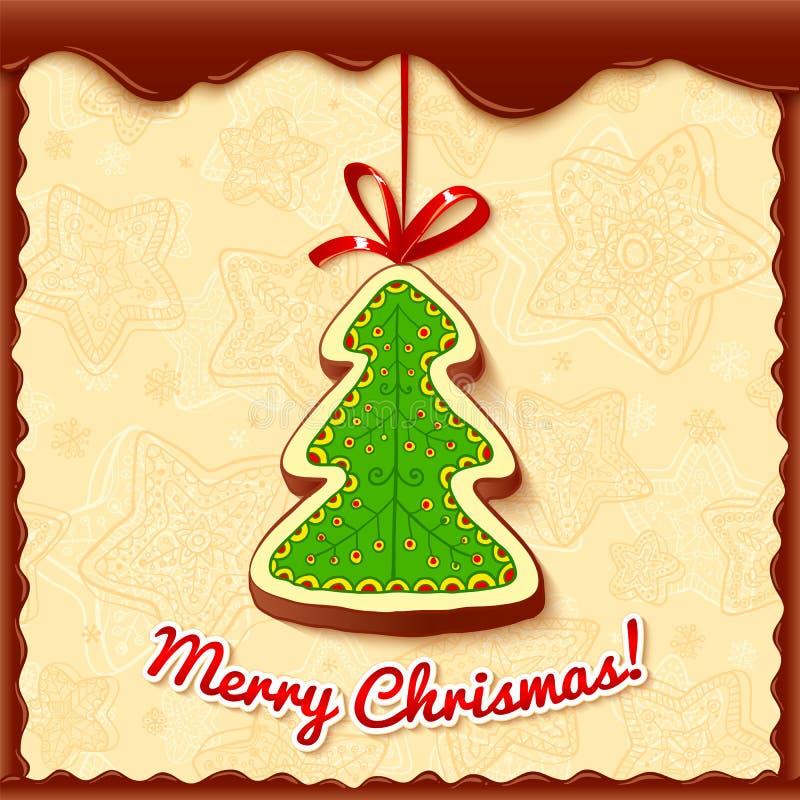 Carte de voeux d'arbre de Noël de chocolat illustration stock