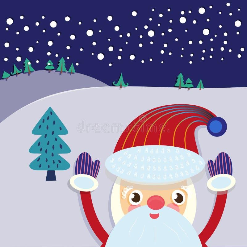 Carte de voeux d'arbre de Santa Claus et de Noël illustration libre de droits