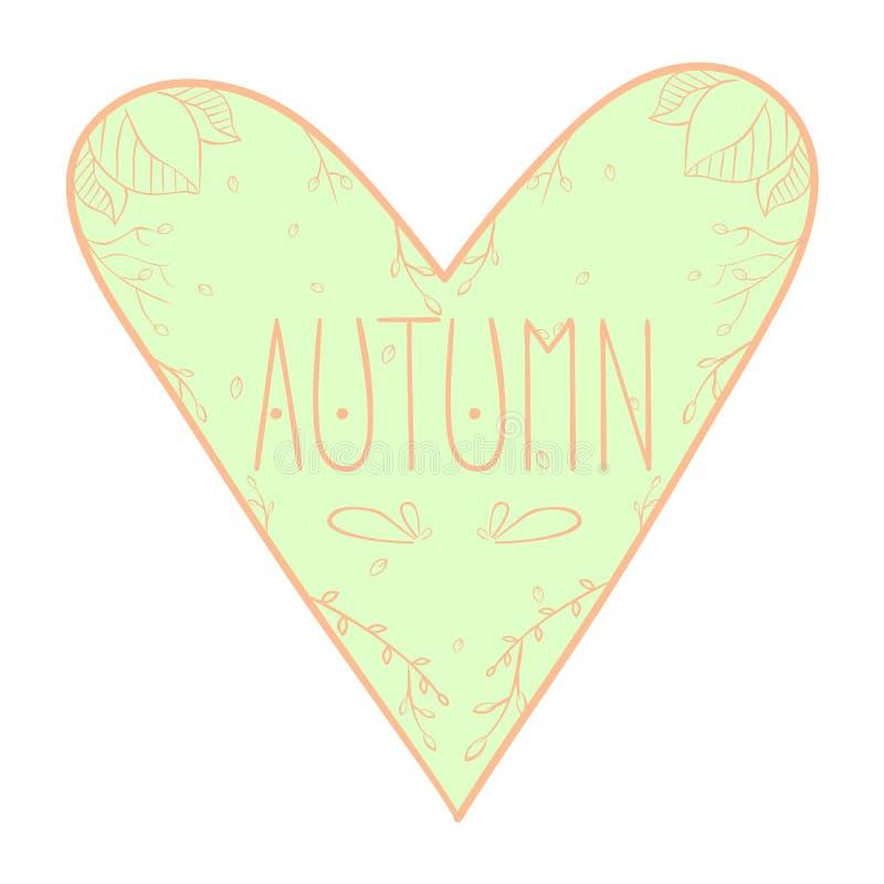 Carte de voeux d'automne d'amour avec les feuilles en baisse, le coeur et le texte manuscrit illustration stock