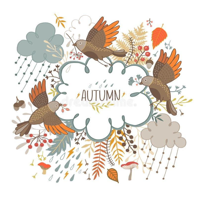 Carte de voeux d'automne avec des oiseaux, des nuages, des branches et des champignons illustration libre de droits