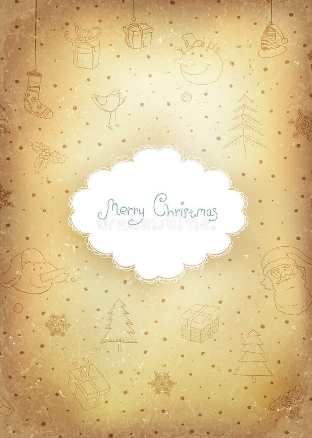 Carte de voeux d'or de Noël de cru. illustration libre de droits