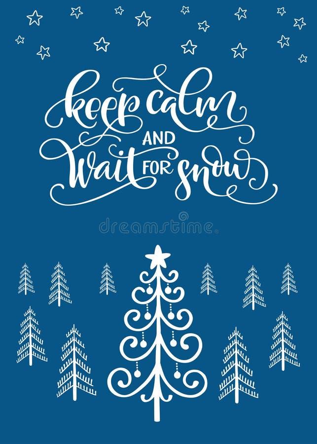 Carte de voeux d'hiver avec l'arbre de Noël et la citation manuscrite K illustration de vecteur