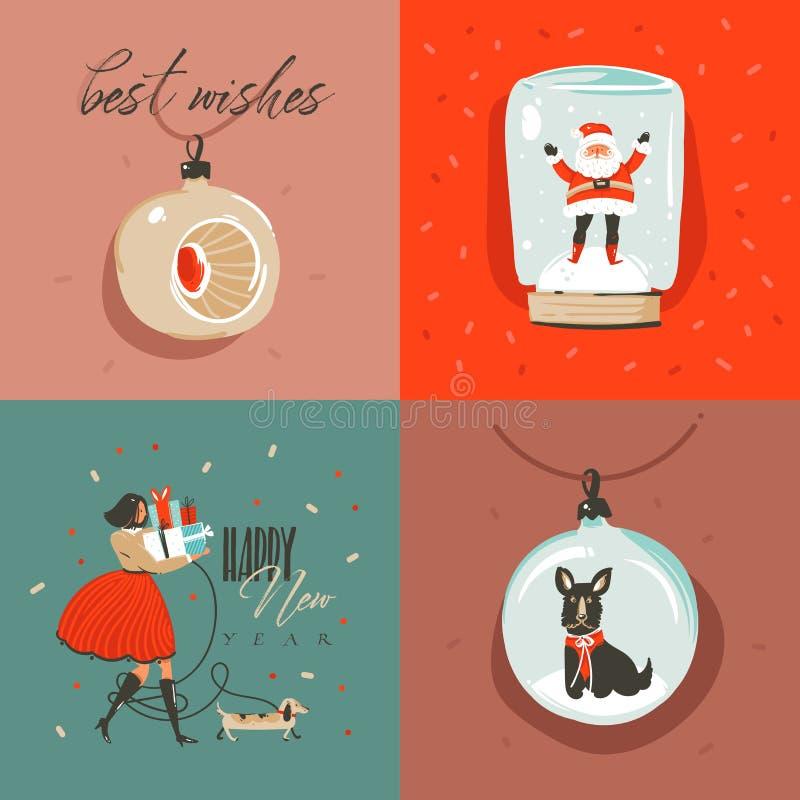 Carte de voeux d'illustration de bande dessinée de temps de Joyeux Noël et de bonne année d'abrégé sur tiré par la main vecteur a illustration de vecteur