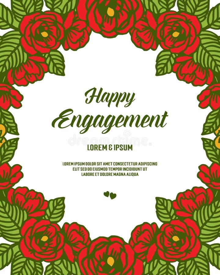 Carte de voeux d'illustration de vecteur diverse d'engagement heureux avec le cadre de guirlande illustration stock