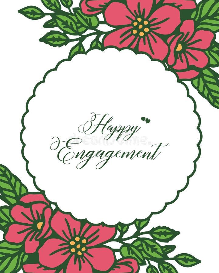 Carte de voeux d'illustration de vecteur diverse d'engagement heureux avec le cadre rouge de fleur illustration libre de droits