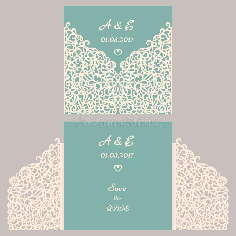 Carte de voeux d'invitation ou de mariage avec l'ornement abstrait Calibre d'enveloppe de vecteur pour la coupe de laser Carte de illustration libre de droits