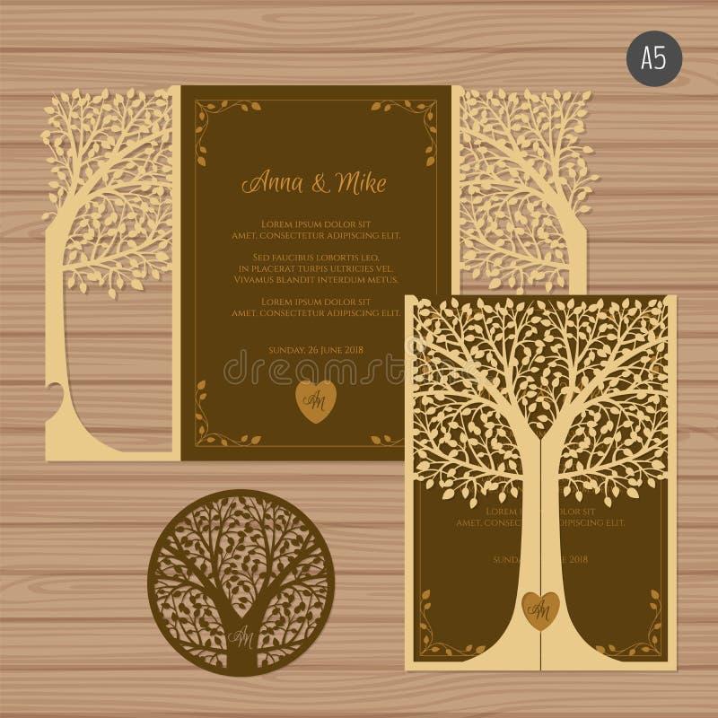 Carte de voeux d'invitation ou de mariage avec l'arbre Dentelle de papier illustration stock