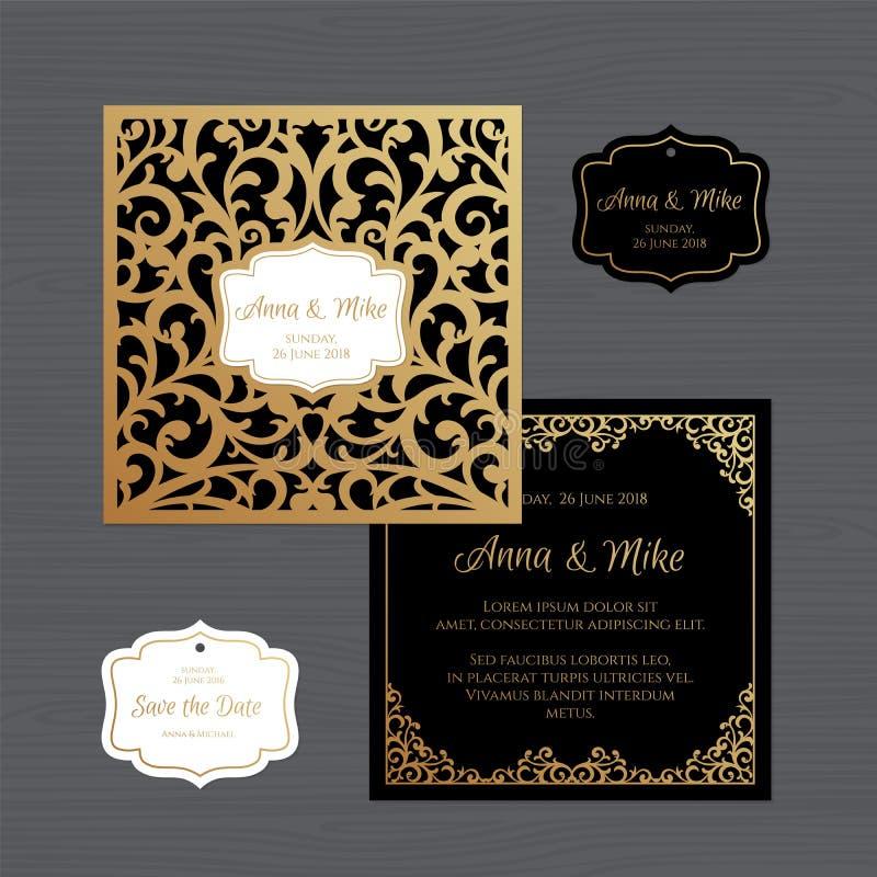Carte de voeux d'invitation ou de mariage avec l'ornement de vintage Papier illustration de vecteur