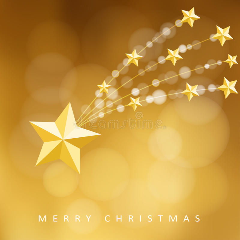 Carte de voeux d'or moderne de Noël, invitation avec la comète, étoile filante, illustration de vecteur