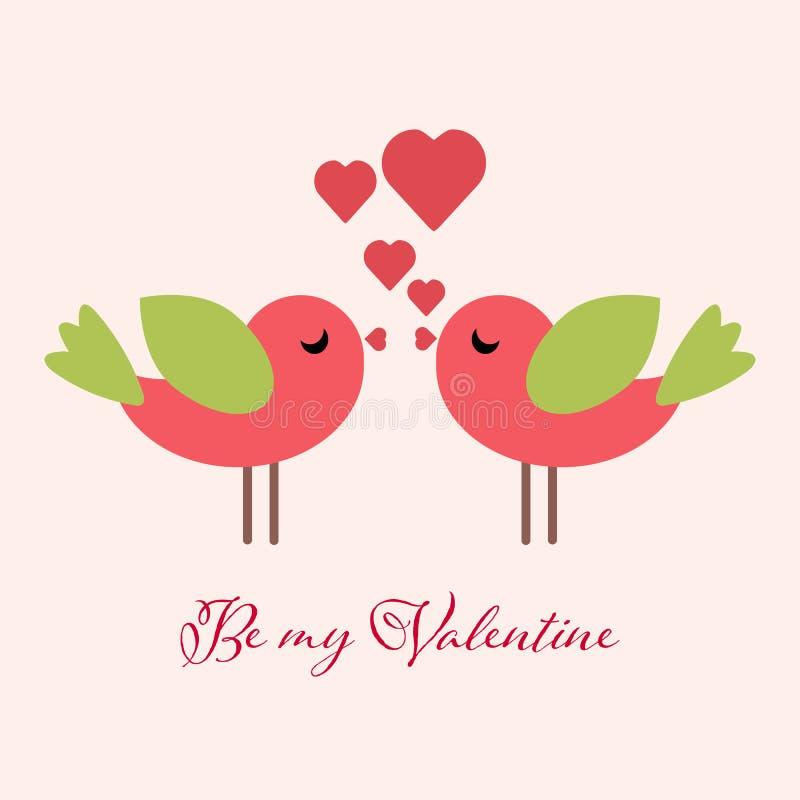 Carte de voeux d'oiseaux de valentines Soyez mon Valentine photo libre de droits