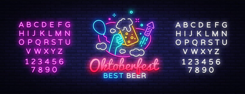 Carte de voeux d'Oktoberfest Célébration d'événement de calibre de conception d'enseigne au néon d'Oktobefest Vecteur au néon de  illustration stock