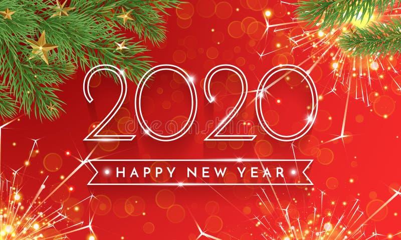 Carte de voeux d'or de scintillement de la bonne année 2020 d'arbre de Noël avec des étincelles et de décoration d'or d'étoiles s illustration de vecteur