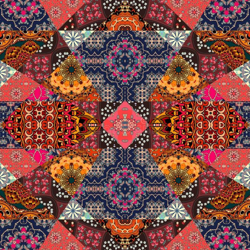 Carte de voeux dans le style de boho Beau modèle de patchwork illustration stock