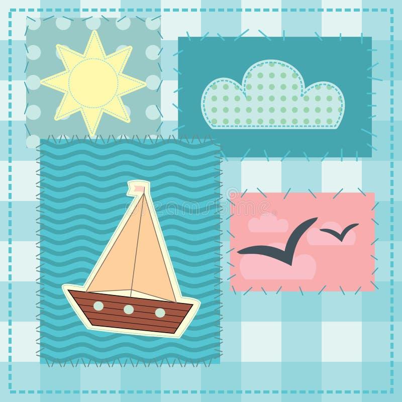Carte de voeux dans le style de patchwork illustration stock