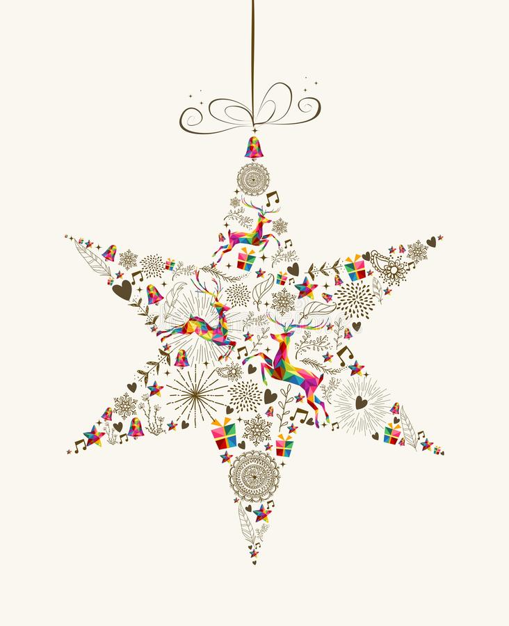 Carte de voeux de babiole d'étoile de Noël de vintage illustration libre de droits