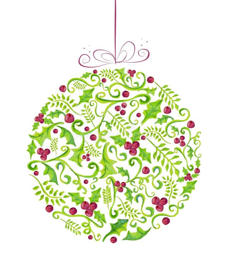 Carte de voeux de babiole d'aquarelle de Holly Christmas illustration libre de droits
