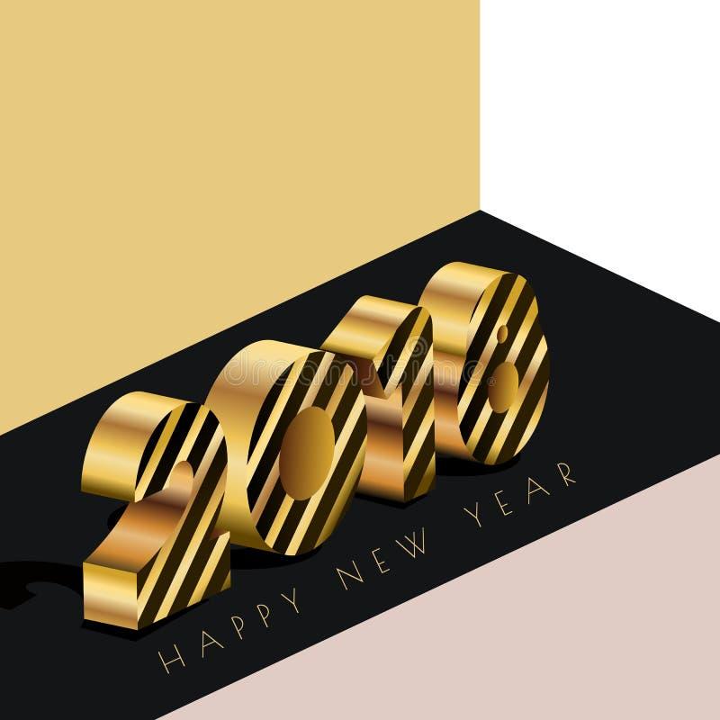 Carte de voeux 2018 de bonne année avec des nombres d'or dans le style 3d isométrique Fond abstrait de vacances illustration stock