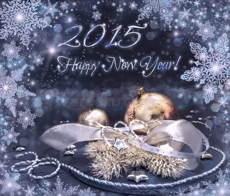 Carte de voeux 2015 de bonne année dans l'argent, l'or et le noir photographie stock libre de droits