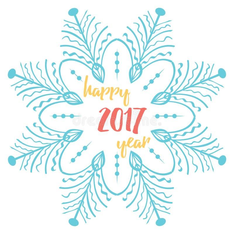 Carte de voeux 2017 de bonne année Dirigez les milieux de vacances d'hiver avec le texte et les grands flocons de neige illustration libre de droits