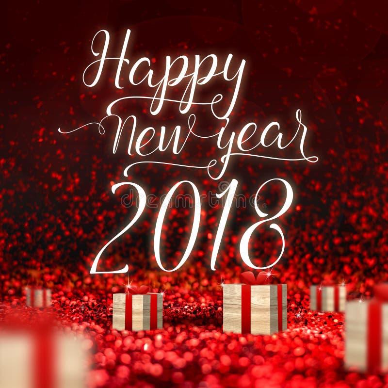 Carte de voeux 2018 de bonne année et boîte actuelle en bois au PS rouge images stock