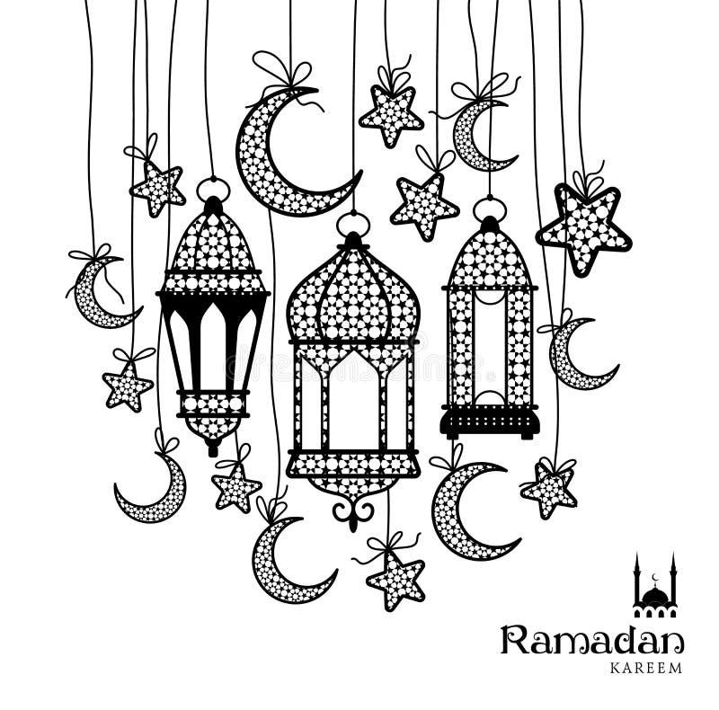 Carte de voeux de célébration de Ramadan Kareem illustration stock