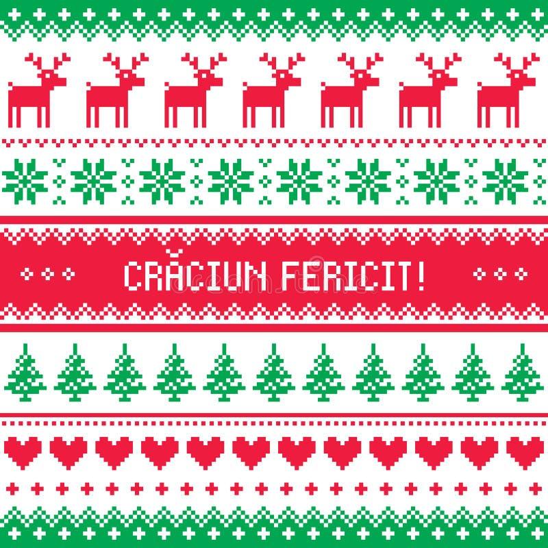 Carte de voeux de Craciun Fericit - Joyeux Noël dans le modèle roumain illustration libre de droits