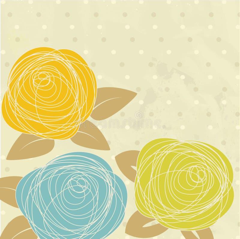 Carte de voeux de cru avec les fleurs tirées par la main illustration stock