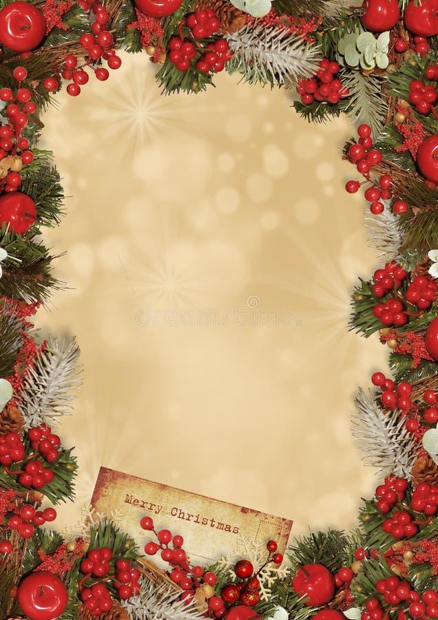 Carte de voeux de cru de Noël photographie stock