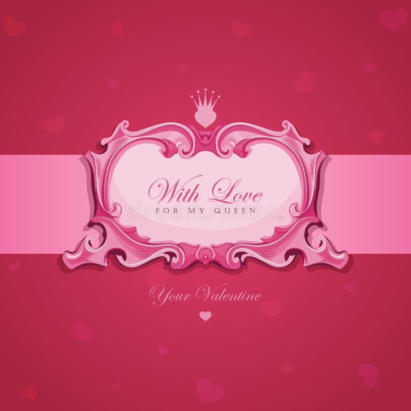 Carte de voeux de cru de Valentines. illustration libre de droits