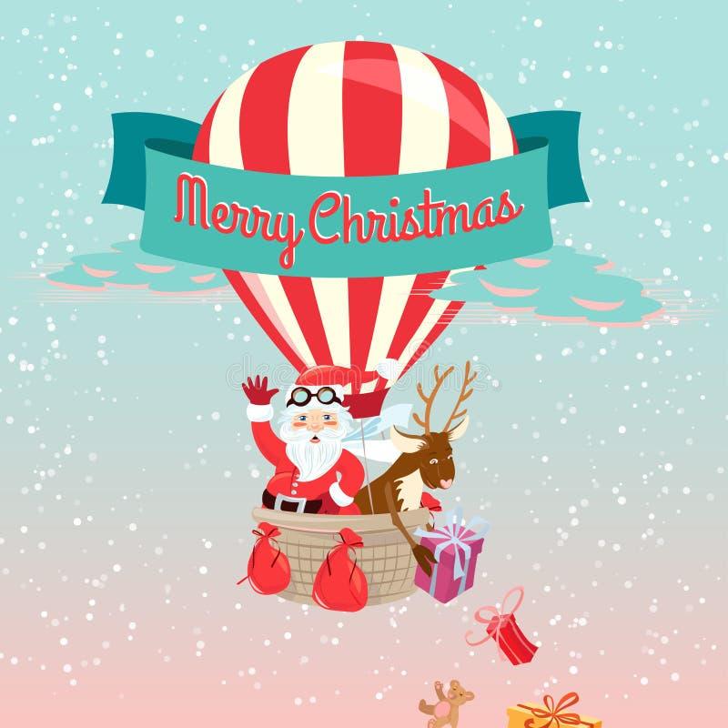Carte de voeux de fête de Joyeux Noël avec Santa Claus et son d illustration stock