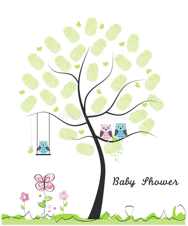 Carte de voeux de fête de naissance illusytration avec les nuages, le soleil et la poussette Hibou de bébé Famille de hibou avec  illustration de vecteur