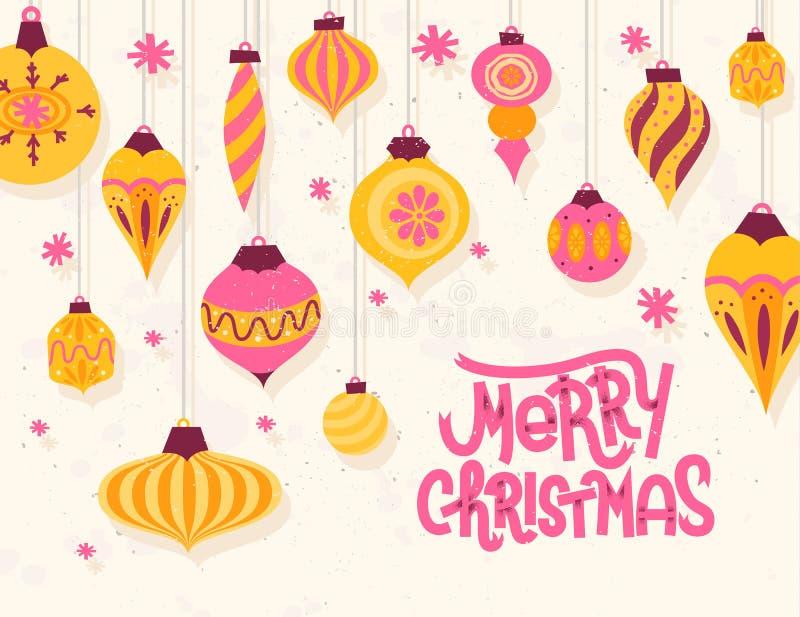 Carte de voeux de fête de Noël avec rétro Noël o du style 50s illustration de vecteur