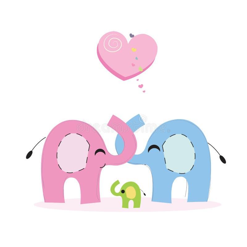 Carte de voeux de famille d'éléphant et d'éléphant de bébé illustration libre de droits