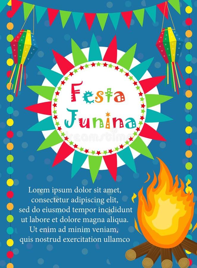 Carte de voeux de Festa Junina, invitation, affiche Calibre latino-américain brésilien de festival pour votre conception Vecteur illustration libre de droits