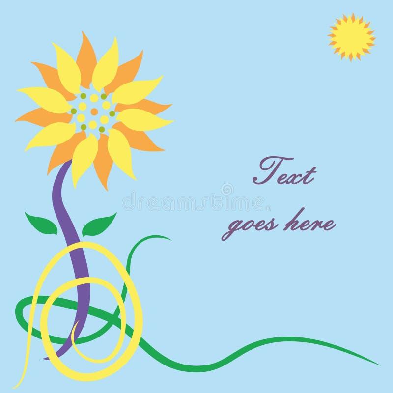 Carte de voeux de fleur de Sun illustration libre de droits
