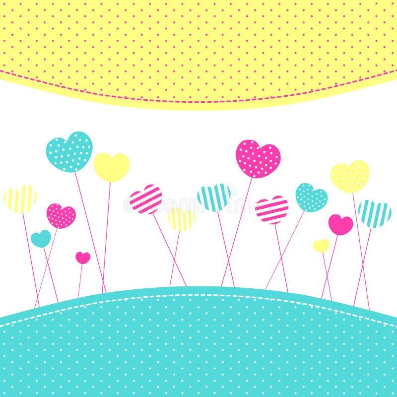 Carte de voeux de Frienship de lucettes de coeur illustration libre de droits