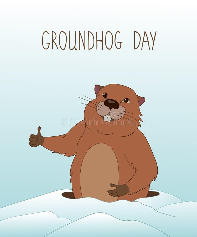 Carte de voeux de jour de Groundhog illustration libre de droits